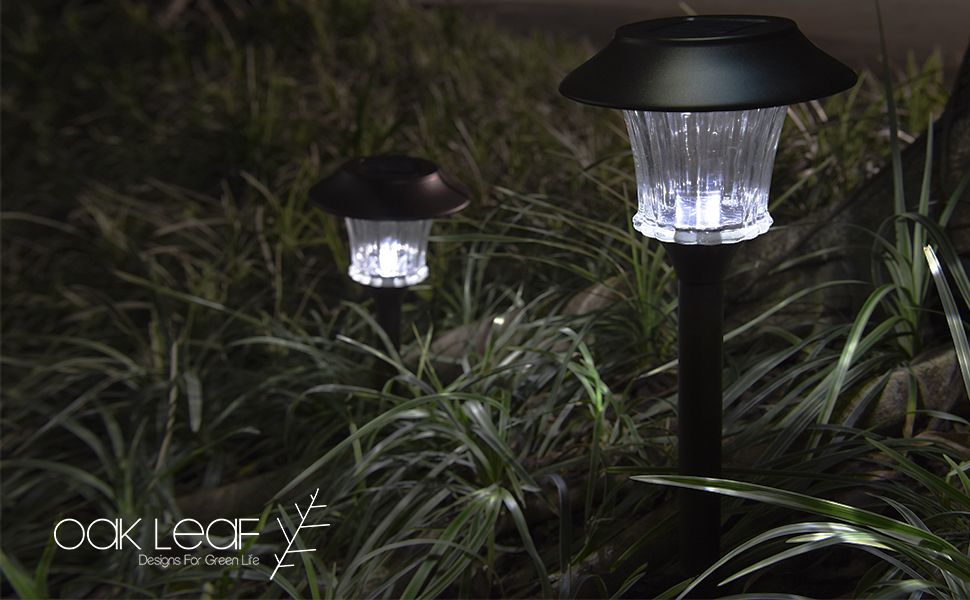 Oak Leaf Solar Pathway Lights 4-Pack & Amazon.com : Solar Pathway Lights Oak Leaf Stainless Steel LED ...