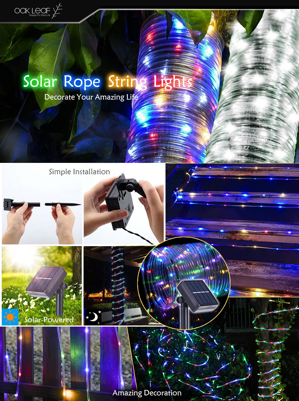 Solar rope lights oak leaf 41ft waterproof 100 led outdoor light up your outdoor areas carefully protect your sockets and lights from water if thats exactly where you are oak leaf solar rope lights can bring aloadofball Choice Image
