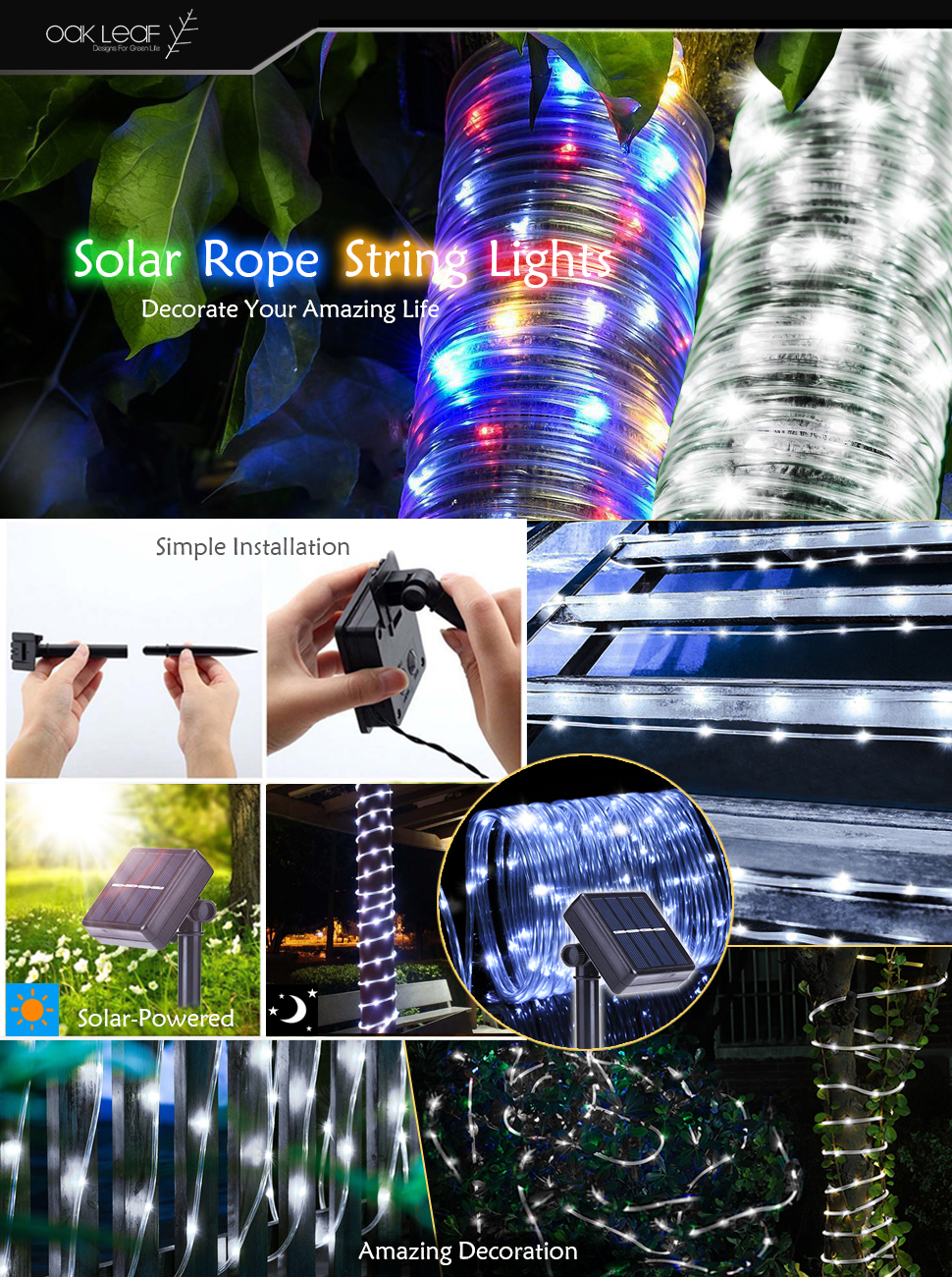 Solar rope lights outdoor oak leaf 41ft 100led led rope lighting light up your outdoor areas carefully protect your sockets and lights from water if thats exactly where you are oak leaf solar rope lights can bring workwithnaturefo