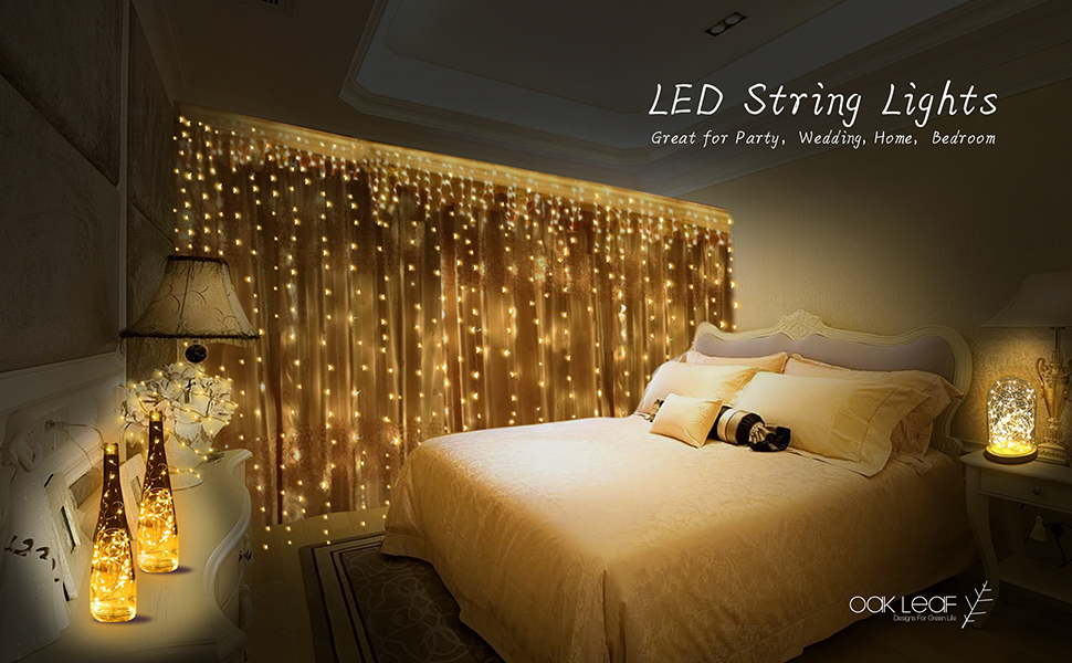 String Lights, Oak Leaf 6 Set of Micro 30 LEDs 9.8 Ft Super Bright ...