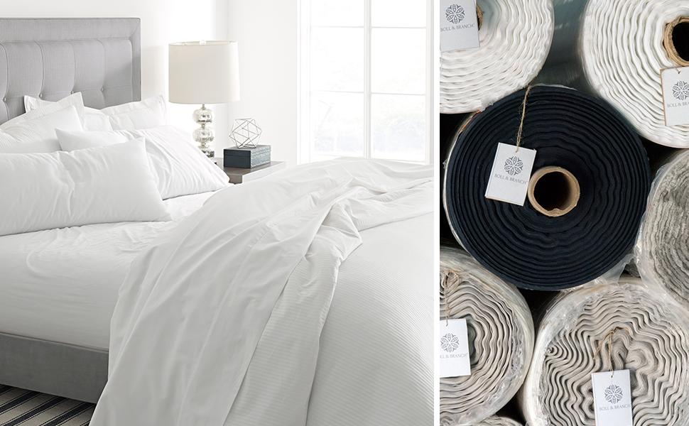 Amazon Com Boll Branch Luxury Fair Trade Long Staple Organic Cotton Sheet Set Queen White Home Kitchen