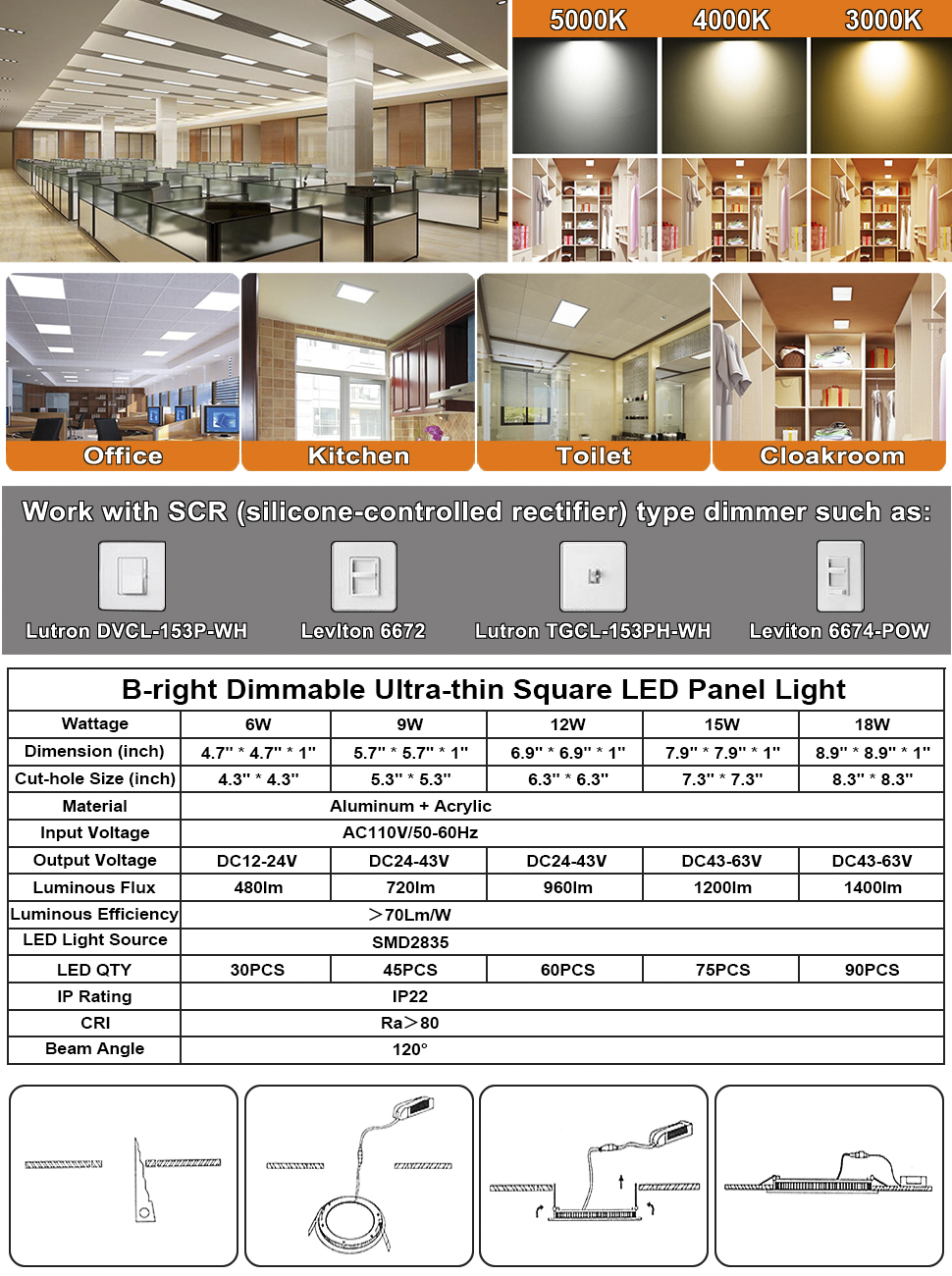 B-right 18W 8-inch Dimmable Square LED Panel Light Ultra-thin 1400lm 3000K Warm White LED Recessed Ceiling Lights for Home Office Commercial Lighting