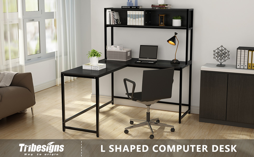newest 64709 f89e9 Tribesigns L-Shaped Desk with Hutch, 55