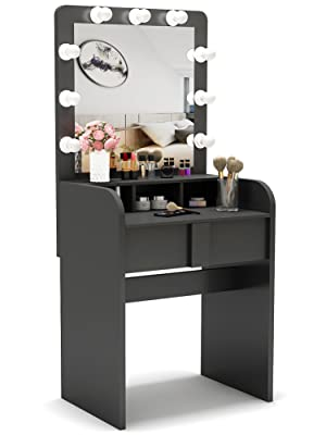 Tribesigns Vanity Table Set with Lighted Mirror