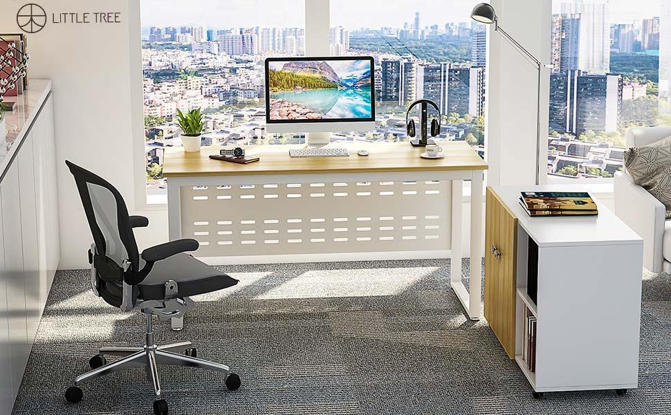 LITTLE TREE 55u201d Modern Computer Desk, Office Desk Writing Studying Table  For Workstation Home Office, Walnut + White
