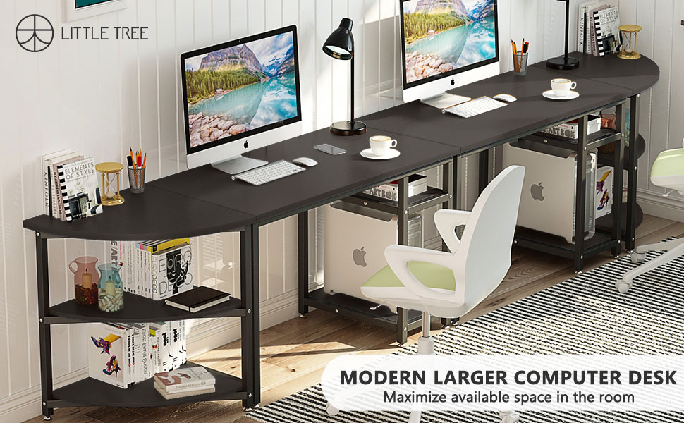 large computer desk with shelf