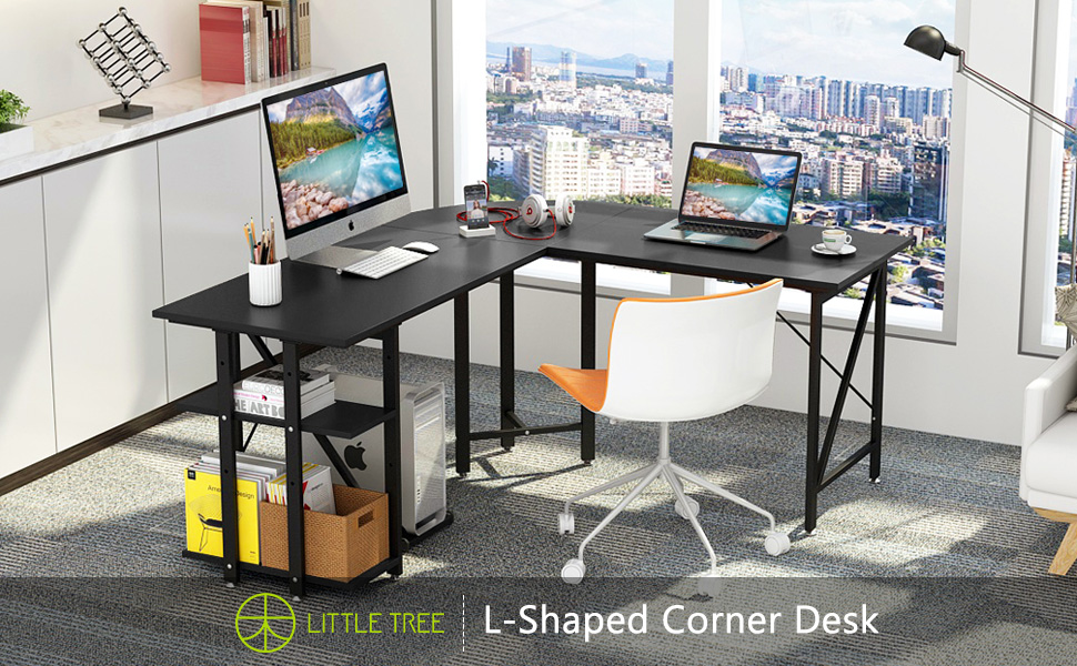 c34cbad7dd30 LITTLE TREE Large L-Shaped Desk, 67 inch Modern Corner Computer Desk Gaming  Table with Shelves, PC Laptop Workstation Desk for Home Office, Black