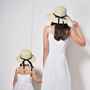 45b1bfe3f10 FURTALK Adults Kids Straw Summer Sun Caps for Women Girl Child Beach Hats  With Chin Strap