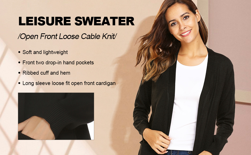 SoTeer Women's Casual Open Front Lightweight Long Sleeve Loose Soft Cable Knit Cardigan Sweater with Pockets