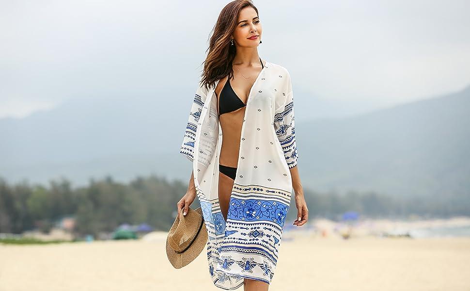 b99801be5c SoTeer Womens Boho Print Baggy Swimwear Bikini Cover-UPS Beach Dress ...