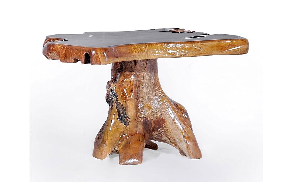 Amazon Com Genuine Teak Wood Slab Coffee Table Made By Chic