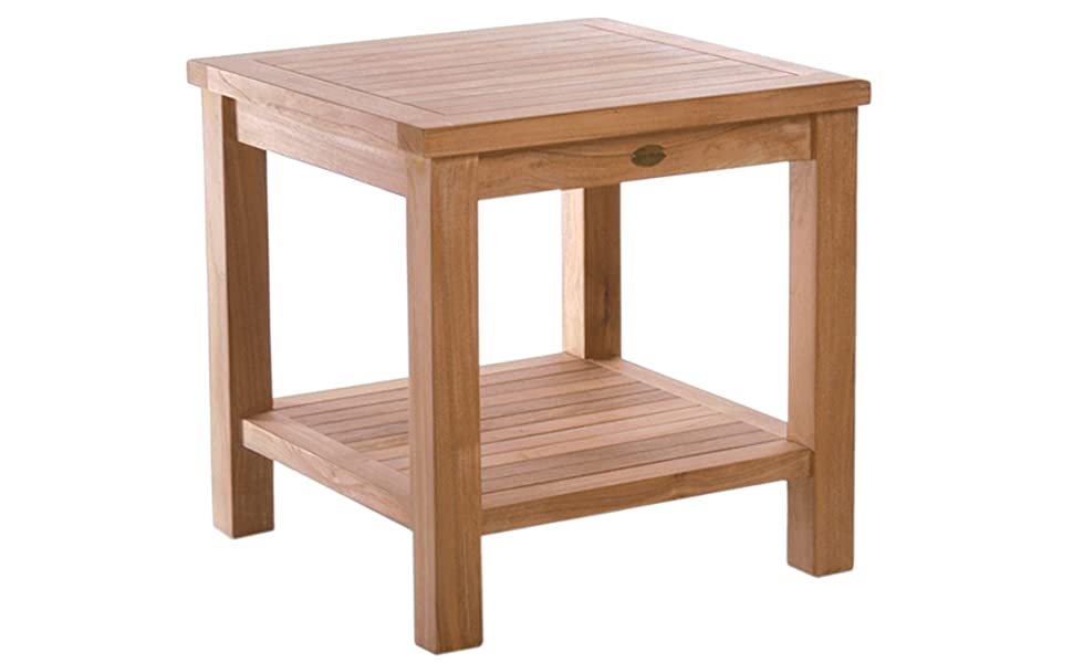 Outdoor Teak Side Table.Teak Tundra Outdoor Side Table With Shelf Made By Chic Teak From A Grade Teak Wood
