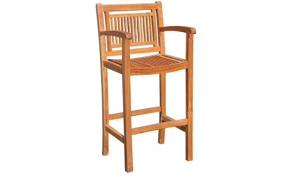 Fabulous Amazon Com Teak Maldives Outdoor Patio Barstool With Arms Bralicious Painted Fabric Chair Ideas Braliciousco