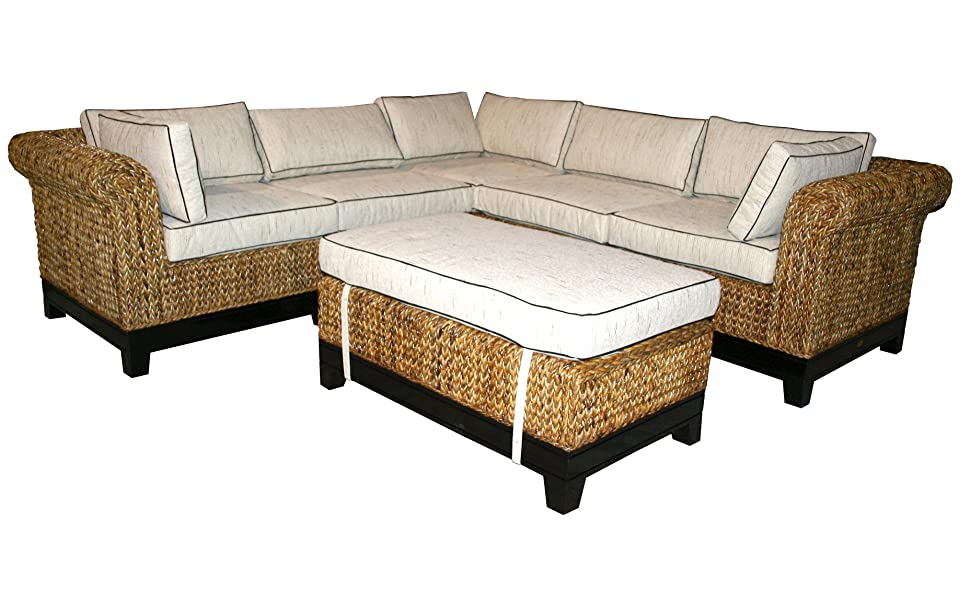 Amazon.com: CHIC TEAK Naples Sectional Sofa, 6 Pieces Made: Kitchen ...