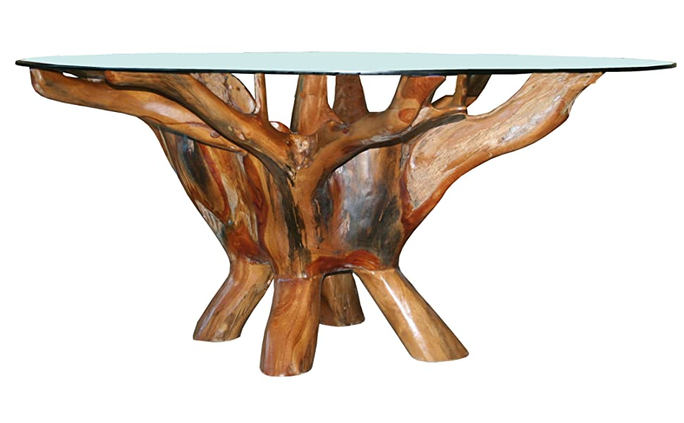 Fabulous Teak Root Coffee Table Including 43 Inch Round Glass Top Made From Solid A Grade Teak Wood By Chic Teak Download Free Architecture Designs Scobabritishbridgeorg