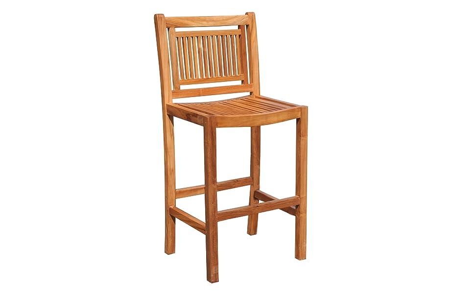 Swell Amazon Com Teak Maldives Outdoor Patio Barstool Chair Made Creativecarmelina Interior Chair Design Creativecarmelinacom