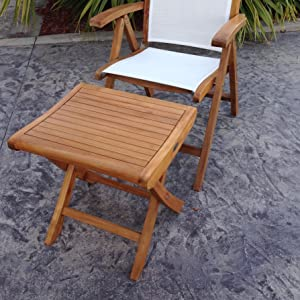 Amazon Com Teak Italy Outdoor Patio Footstool Side Table