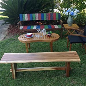 Phenomenal Amazon Com Chic Teak Suar Live Edge Slab Backless Bench Evergreenethics Interior Chair Design Evergreenethicsorg