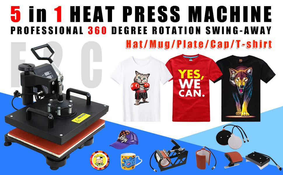 F2C Professional Swing Away 360-degree Rotation Digital Heat Transfer Sublimation T-shirt Heat Press Machine for T shirt Black