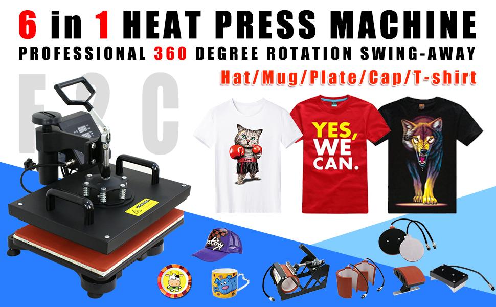 2bb53f06d Amazon.com: F2C Pro 6 in 1 Combo Heat Press Machine T-Shirt Hat Cap ...