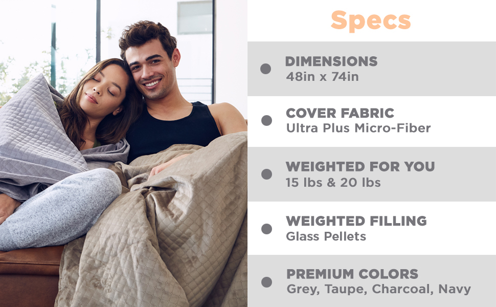 Amazon Com Blanquil Quilted Weighted Blanket W Removable Cover Grey 20lb Home Kitchen