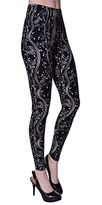 print leggings brushed stretched elastic waistband 4-way stretch brushed design regular plus