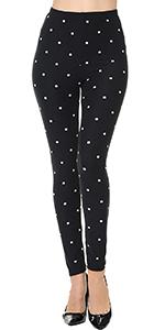 print leggings brushed stretched elastic waistband 4-way stretch brushed design regular plus