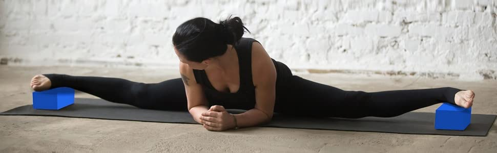 Stretching with yoga blocks 2 set gym workout