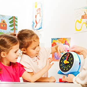 educational learning interactive clock toy learn to read time music night light toddlers kids