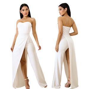 62949ce5b58 Amazon.com  Acelitt Women s Off Shoulder Sleeveless Asymmetric Split ...