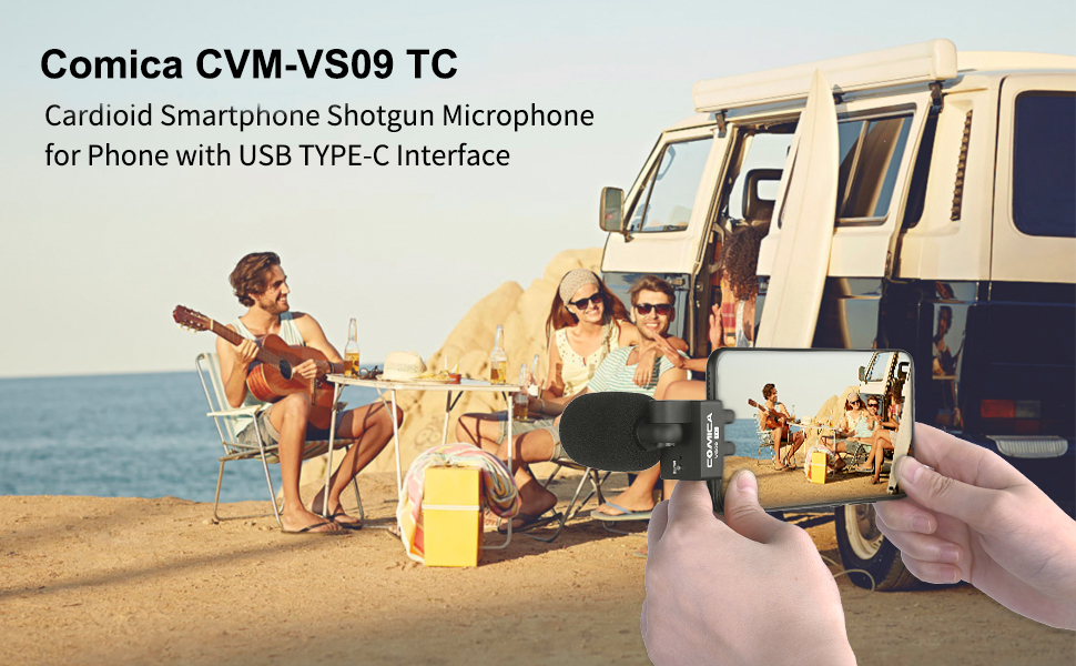 Comica CVM-VS09 TC Cardioid Microphone Smartphone Microphone with Type-C Jack Rotatable Wireless Mic Compatible for Huawei P30 pro Android