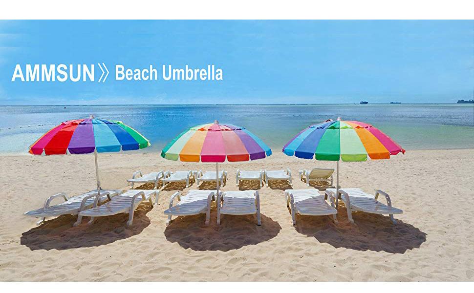 Amazon Com Ammsun 7 5ft 20 Panels Vented Beach Umbrella