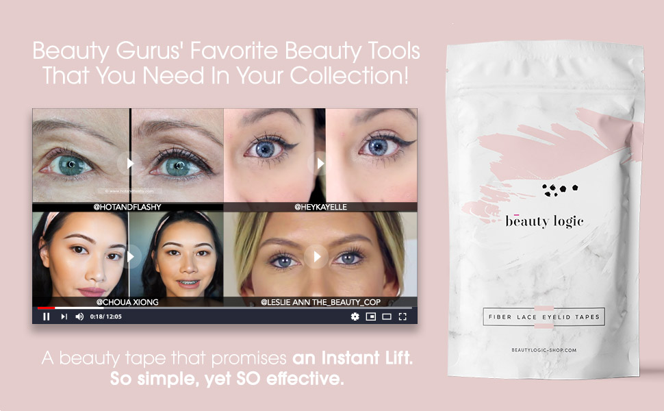 Beauty Logic USA Ultra Invisible Fiber Lace Eyelid Lift Kit 120pcs Blends  In With Skin No Glare Non Surgical Instant Eyelid Lifting For Hooded Droopy