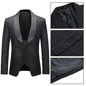 black jacquard suit