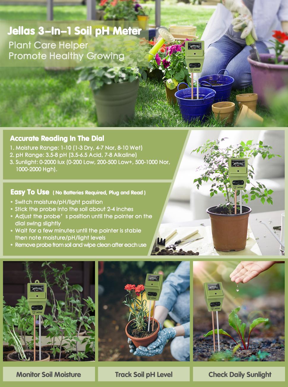 Indoor//Outdoor Plants Olive Green 3-in-1 Soil pH Meter Moisture Sensor Sunlight pH Soil Test Kits for Home and Garden Jellas Soil Moisture Meter