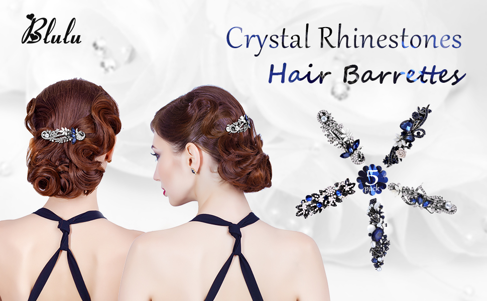 Radient Barrettes Clips Diamante Crystal Barrette Hair Clip Vintage Ladies Hairclip 029 Girls' Accessories Clothing, Shoes & Accessories