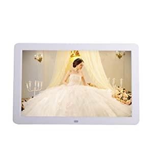 Minidiva 12 1080P HD LED Digital Photo Frame 16:9 White - Multifunction Digital Picture Display 1280x800 with Max 32GB Storage