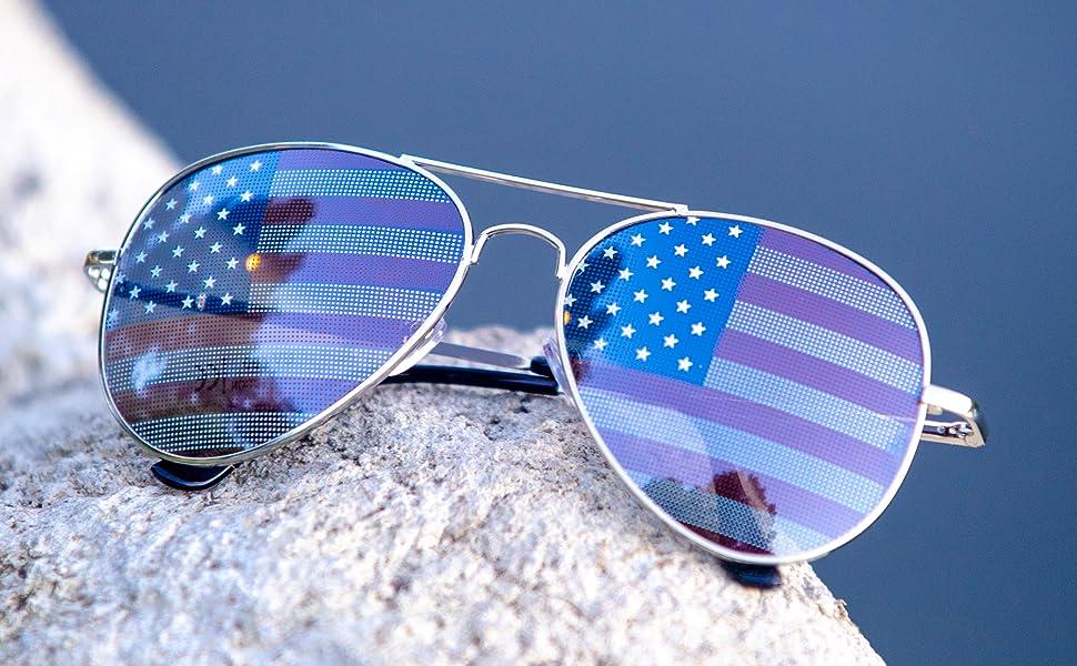 Amazon.com: Anteojos de sol bandera Americana espejo aviador ...