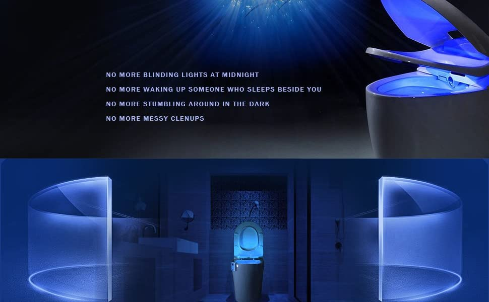 Lixada 16 Colores Led luz Nocturna Sensor de Movimiento Luz de Inodoro L/ámpara de inducci/ón del Cuerpo Humano Luz de Noche de ba/ño