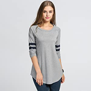 b842b40f OURS Womens Crewneck Long Sleeve Baseball Long T-Shirt Tunic Tops at ...
