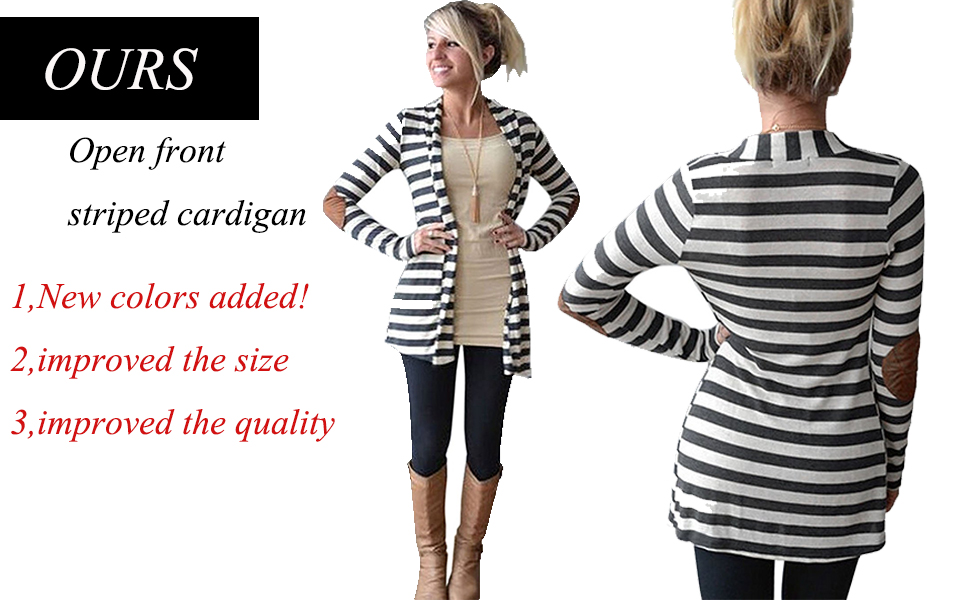 OURS Women's Elbow Patch Long Sleeve Shawl Collar Striped Open ...