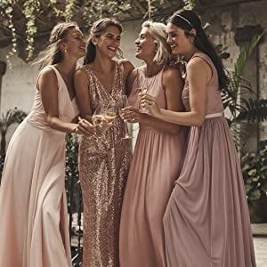 blush dusty rose pink bridesmaid dress bridal party