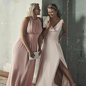 dusty rose bridesmaid dress wedding gown bridal party