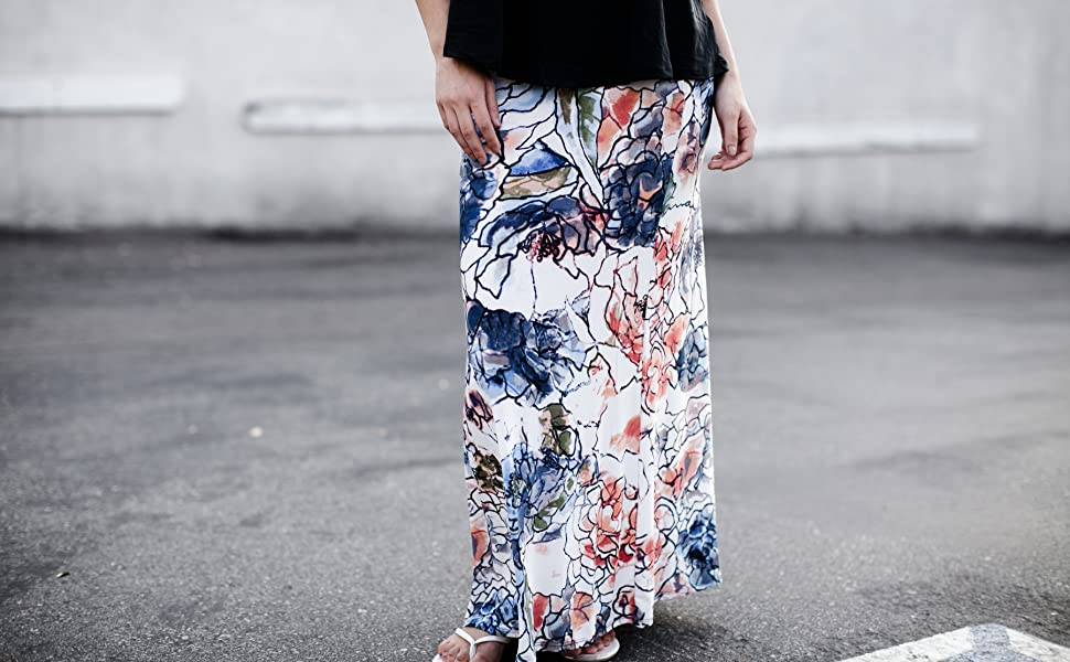 4a77215ef Niobe Various Printed Full Length Banded Waist Foldover Maxi Skirt ...
