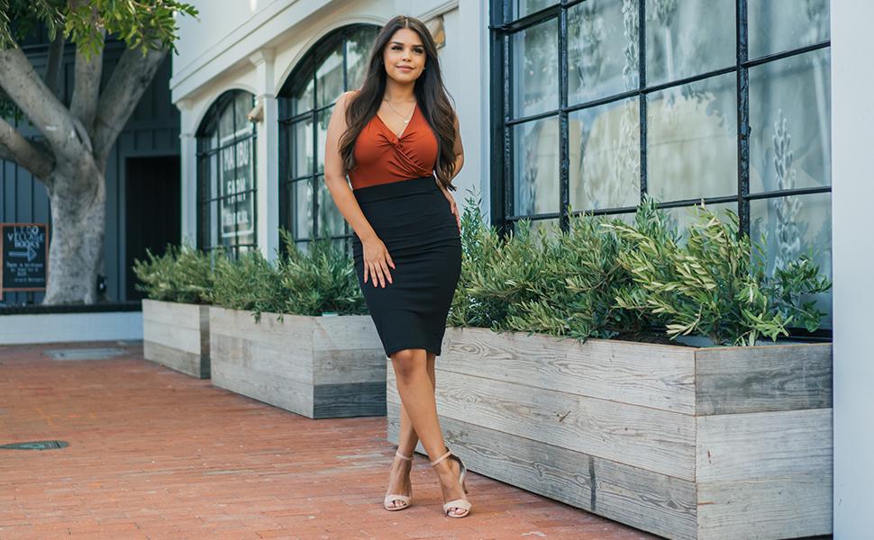 womens black pencil skirt