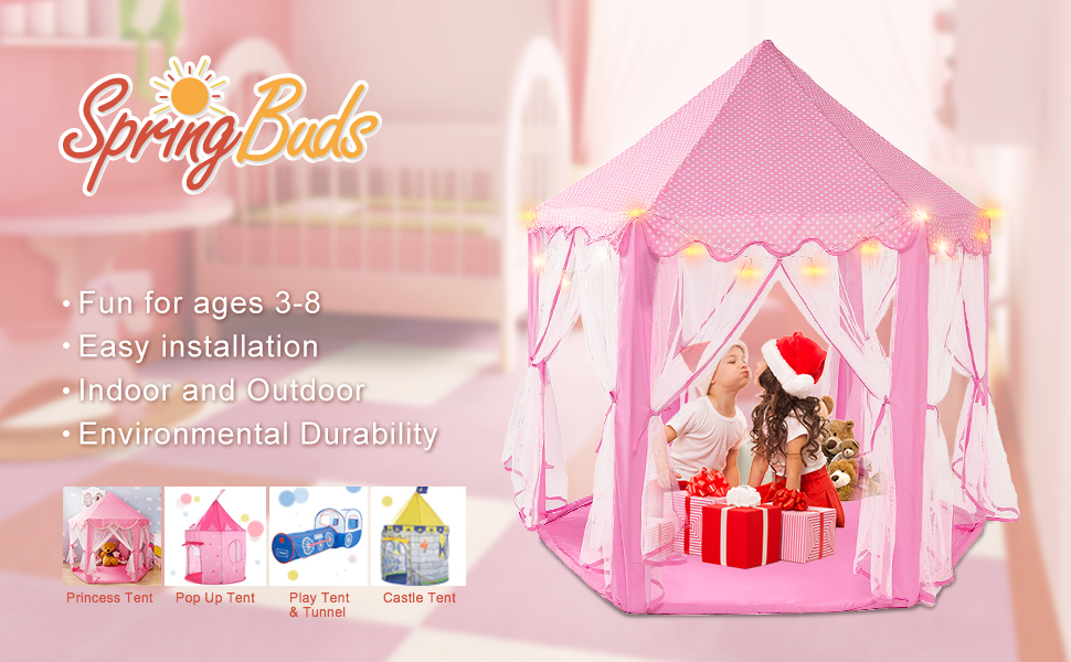 SpringBuds Pink Princess Hexagon Castle Play Tents Girls Large Playhouse with Star Lights & Amazon.com: SpringBuds Pink Princess Castle Kids Play Tent Large ...