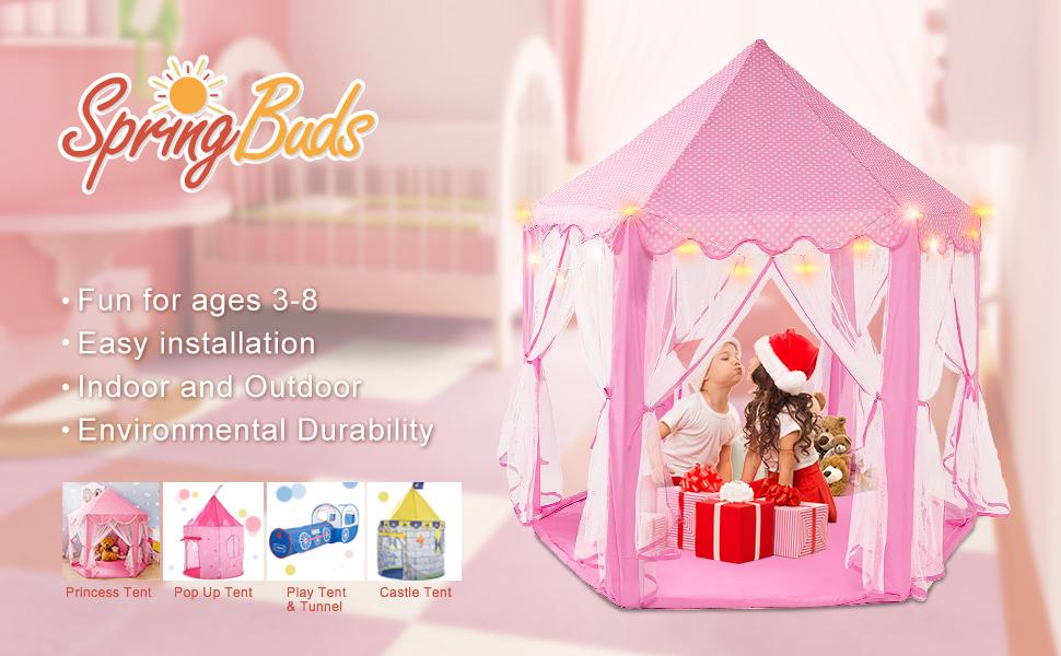Amazon.com: SpringBuds Princess Castle Play Tent Girls Pink Play ...