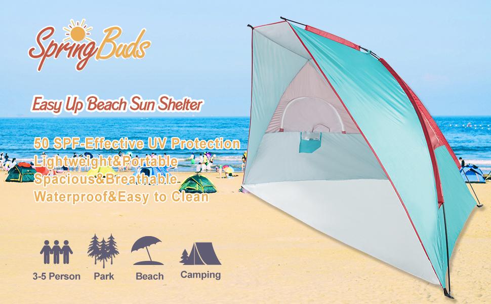 SpringBuds Easy Up Outdoor Beach Cabana Tent--Enjoy Your Beach Time with Effective UV Protection  sc 1 st  Amazon.com & Amazon.com: SpringBuds Extra Large Easy Up Beach Tent Outdoor Sun ...