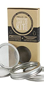 stainless steel sprouting jar lid kit for wide mouth mason jars trellis & co. + and handy pantry