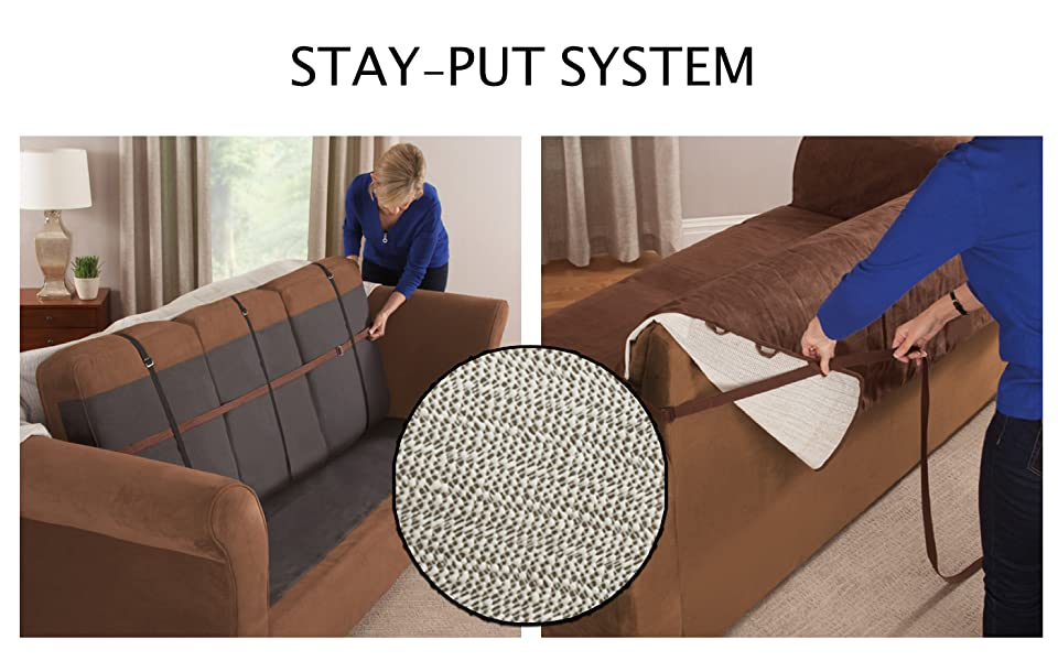 THE BIGGEST COMPLAINT OF SLIPCOVERS IS IT FALLS RIGHT OFF   WE ARE WORKING  TO SOLVE THIS